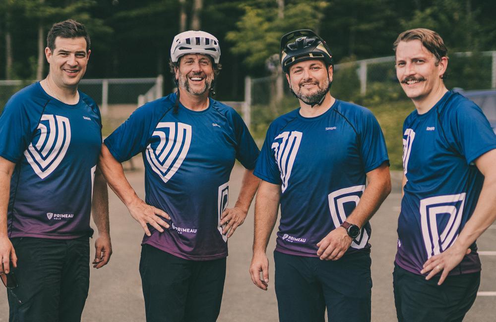 2021 - Intégration des trois magasins Sport Olympe à la famille Primeau Vélo, Vincent Boilard, Jean-François Houde, Maxime Lachance et Éric Primeau