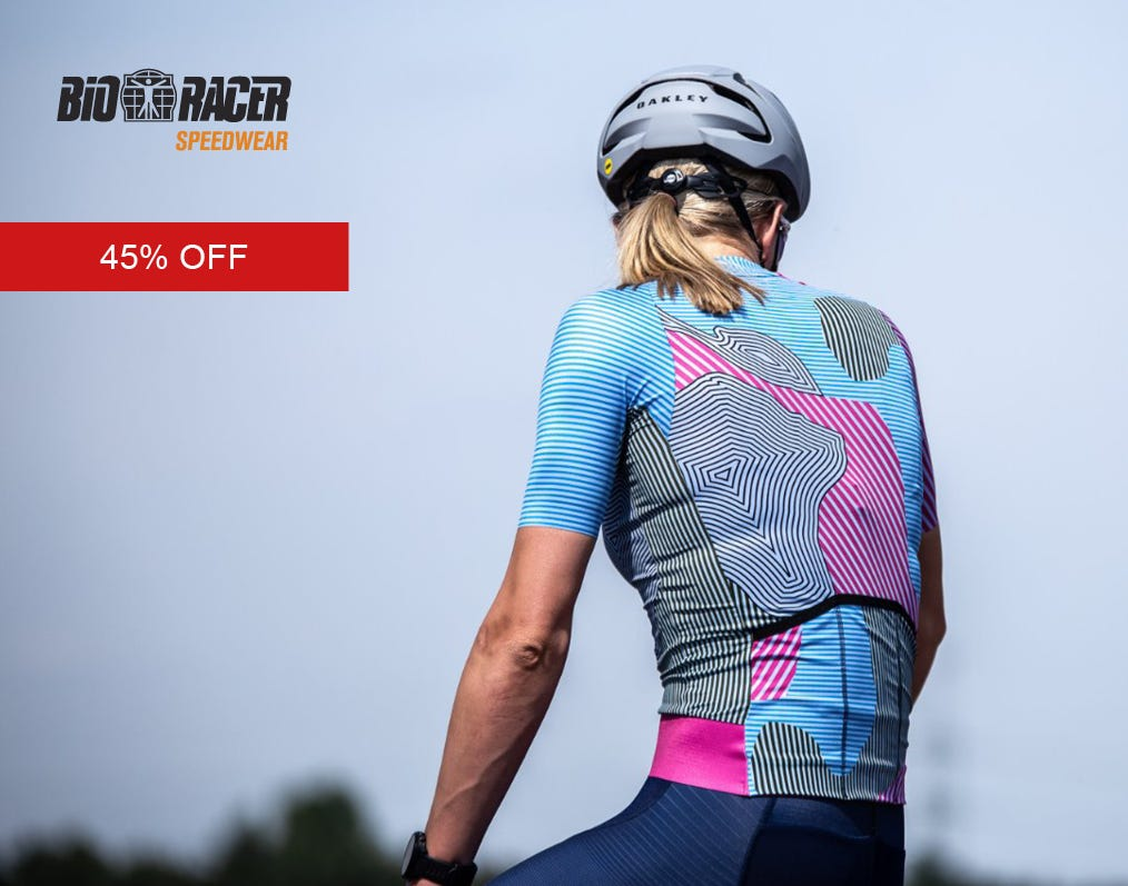 Sale on selected cycling apparel from Bioracer, get 45% off